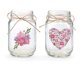 QUART MASON JAR CLEAR WITH FLORAL DESIGN