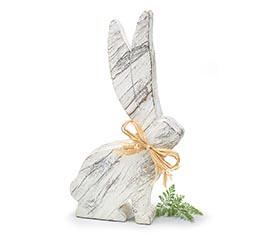 WHITE RESIN WOOD LOOK BUNNY FIGURINE