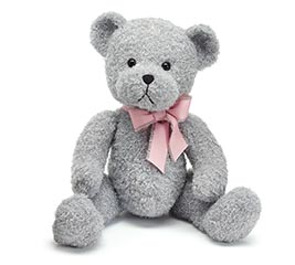 """15"""" SOFT GRAY PLUSH BEAR WITH PINK BOW"""