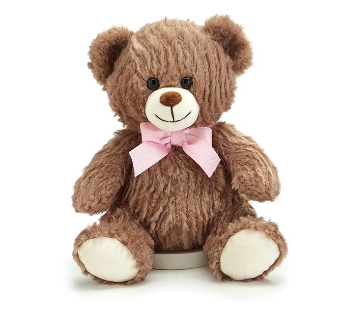 """CASE OF 10"""" WAVY FUR BEAR WITH PINK BOW"""