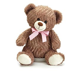 """CASE OF 12"""" WAVY FUR BEAR WITH PINK BOW"""