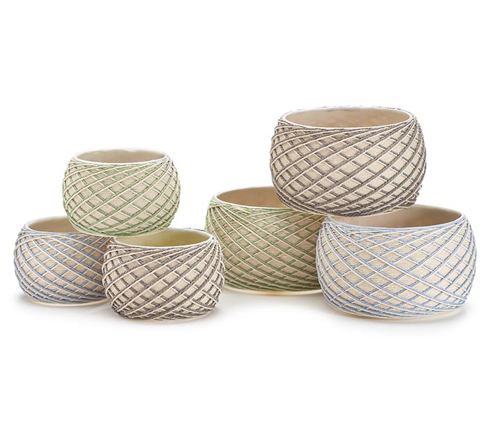 ASSORTED NESTED STRING POT COVERS