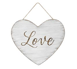 DISTRESSED WHITE LOVE HEART WALL HANGING