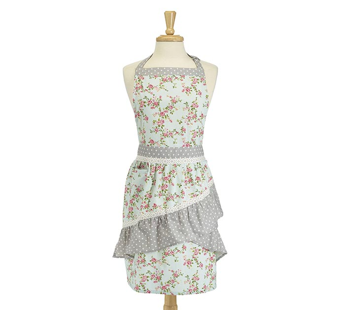 BLUE FLORAL ADULT APRON WITH POLKA DOTS