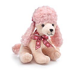 SITTING POODLE WITH BOWS ON EAR
