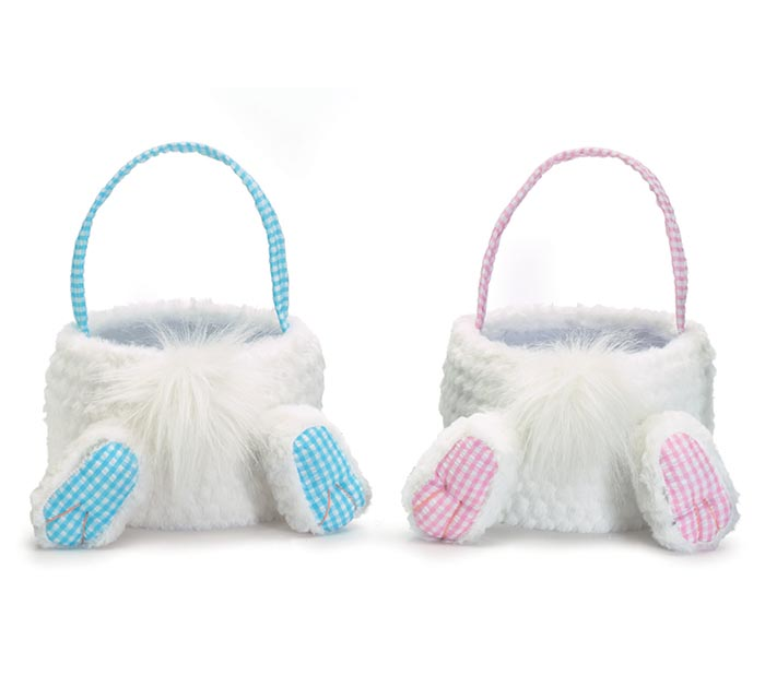 PINK AND BLUE GINGHAM BUNNY BUTT BASKETS