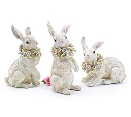 WHITE BUNNIES WITH SPRING WREATH ON NECK