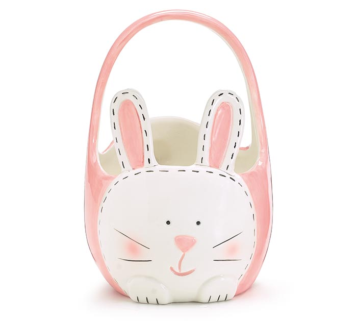 CERAMIC BUNNY BASKET SHAPE CANDY DISH