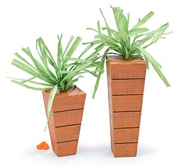 DECOR WOODEN CARROTS IN VARIED SIZES