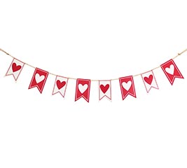 VALENTINE PENDANT FLAG BANNER RED/WHITE