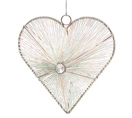 "6"" BEADED HANGING HEART ORNAMENT"