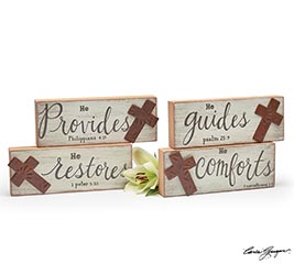 DISTRESSED BLOCK MESSAGE SHELF SITTERS
