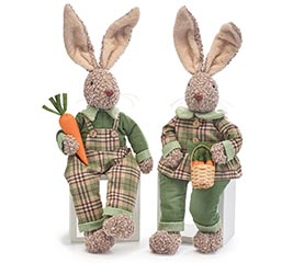 BROWN BUNNIES WITH GREEN PLAID