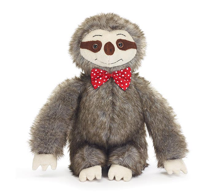 SITTING FAUX FUR SLOTH WITH BOW TIE
