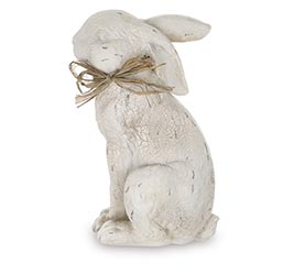 DISTRESS CRACKLED IVORY RABBIT FIGURINE