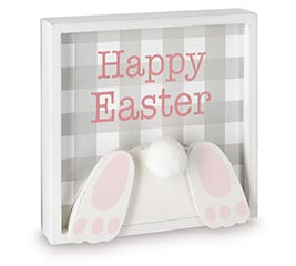 HAPPY EASTER BUNNY BEHIND SIGN
