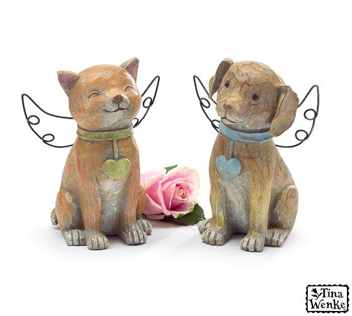 DOG/CAT RESIN ANGEL FIGURINE SET