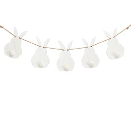 WHITE BUNNIES GARLAND WALL HANGING