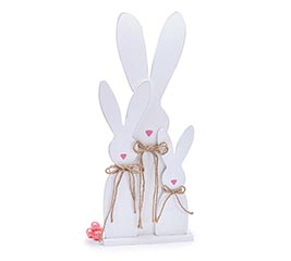 WHITE BUNNY TRIO DECOR WITH PINK NOSES