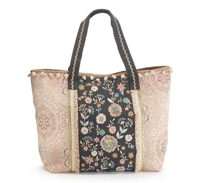 DARK GRAY AND TAN FLORAL TOTE BAG