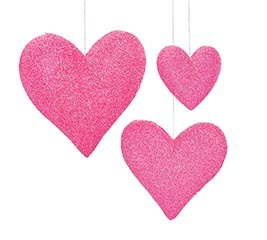 SHINY PINK HANGING HEARTS ASTD SIZES