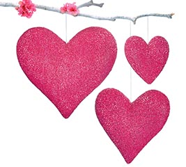 BERRY COLOR HANGING HEARTS ASTD SIZES