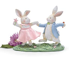 WHITE DANCING BUNNY FIGURINE