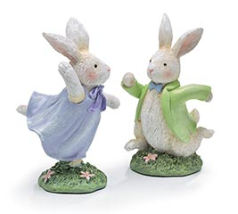 WHITE RUNNING BUNNIES FIGURINE