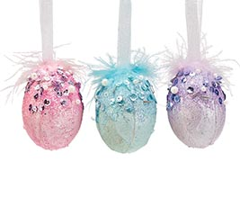 LAVENDER/TEAL/PINK EGGS WITH FEATHERS