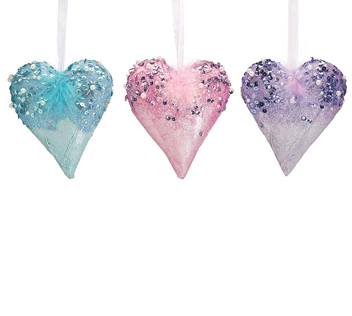 DECORATIVE HEARTS WITH SEQUINS/FEATHERS