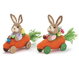 BOY AND GIRL BUNNIES IN CARROT CAR