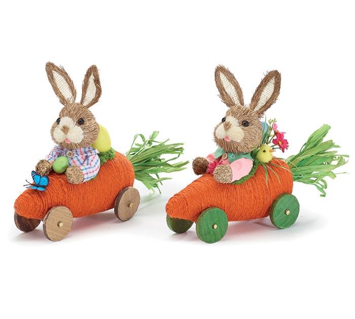 BOY AND GIRL BUNNIES IN CARROT CAR