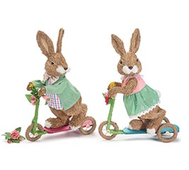 DECOR BOY AND GIRL BUNNY ON SCOOTERS