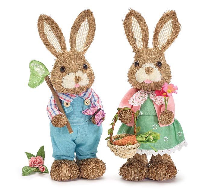 BOY AND GIRL SISAL BUNNIES IN PASTELS