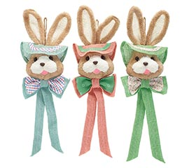 FURRY BUNNY HEADS WITH HATS FOR HANGING