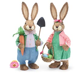 "30"" SISAL BUNNY COUPLE"