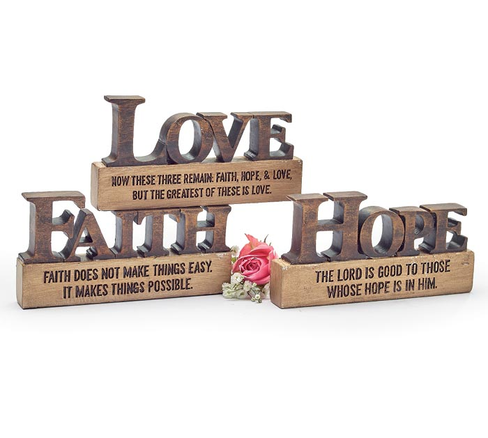 LOVE FAITH HOPE ASTD SHELF SITTERS