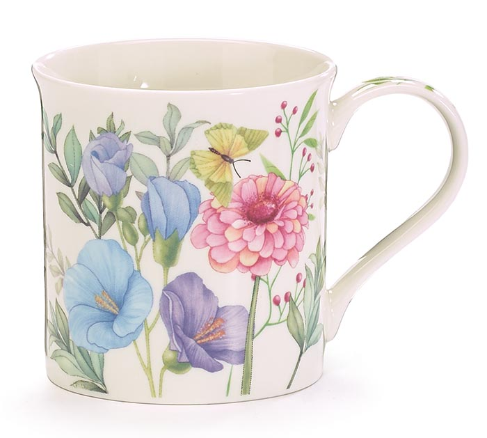 FLORAL MUG WITH CARDBOARD CARRIER
