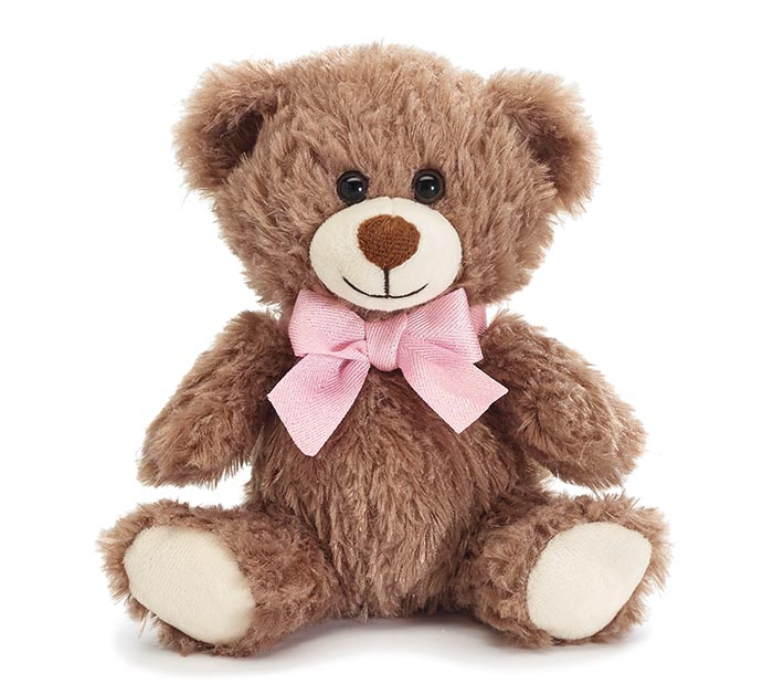 """7"""" SOFT WAVY FUR BEAR WITH PINK BOW"""