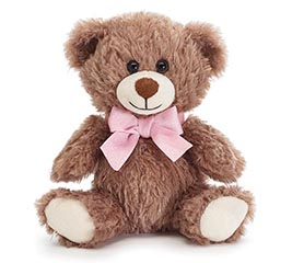 "CASE PACK 7"" WAVY FUR BEAR WITH PINK BOW"