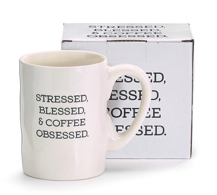 STRESSED BLESSED COFFEE OBSESSED MUG