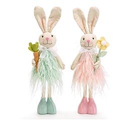 STANDING BUNNY COUPLE PINK AND GREEN FUR