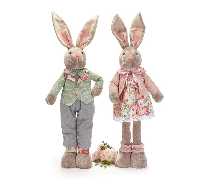 DECOR EXPANDABLE LEG BUNNY COUPLE