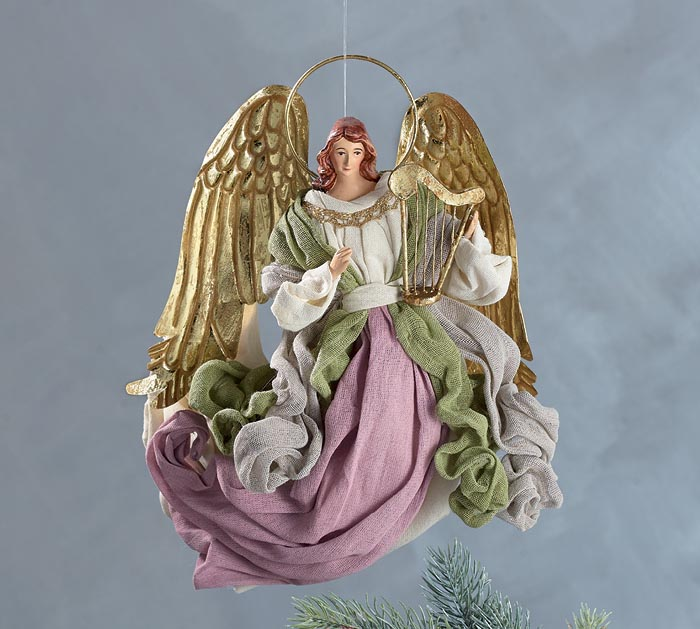 "10"" ANGEL ORNAMENTS IN PASTEL CLOTHING"