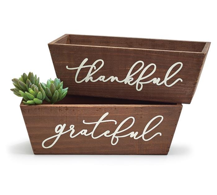 GRATEFUL  THANKFUL WOOD PLANTER SET