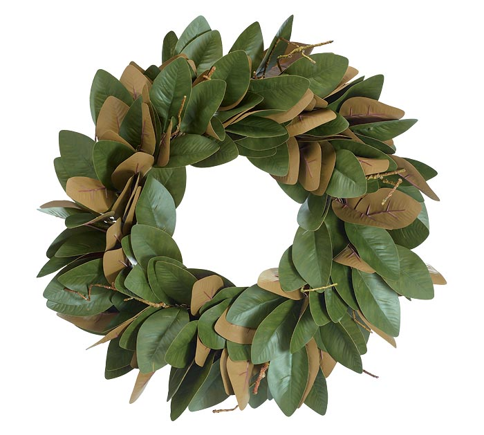 GREEN AND BROWN MAGNOLIA LEAF WREATH