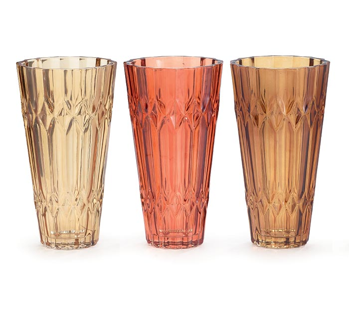 FALL COLORED TAPERED GLASS VASES