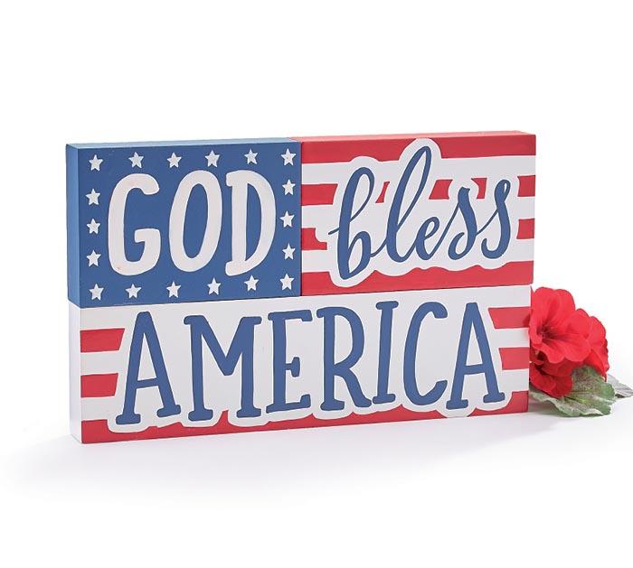 GOD BLESS AMERICA FLAG SHELF SITTER