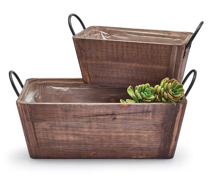 DARK WOOD NESTED PLANTERS WITH HANDLES