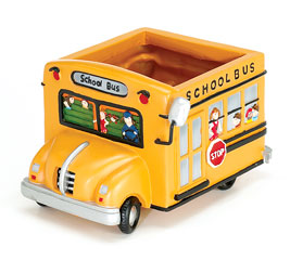 YELLOW SCHOOL BUS RESIN PLANTER
